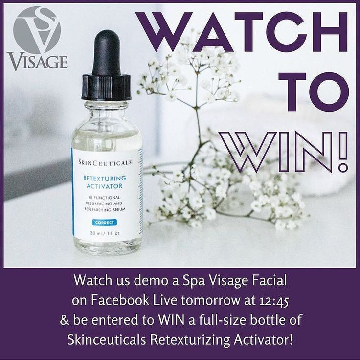 Would you like a chance to win a #FREE full-size bottle of Skinceuticals Retexturing Activator (value: $78)??  Like the Visage: Salon Spa and Studio Facebook page and watch us TOMORROW on Facebook Live at 12:45 p.m. as we demonstrate a Spa Visage Facial and you will be entered to WIN!  Official Contest Rules: This promotion is sponsored by The Visage Group and is in no way sponsored or endorsed by Facebook. No purchase necessary. This contest is open to all adult (age 18) legal residents of…