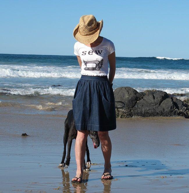 A denim Brumby Skirt, pattern by Megan Nielson.