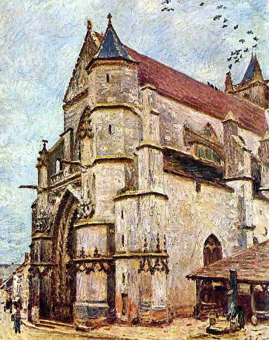 The church of Moret-sur-Loing by Alfred Sisley