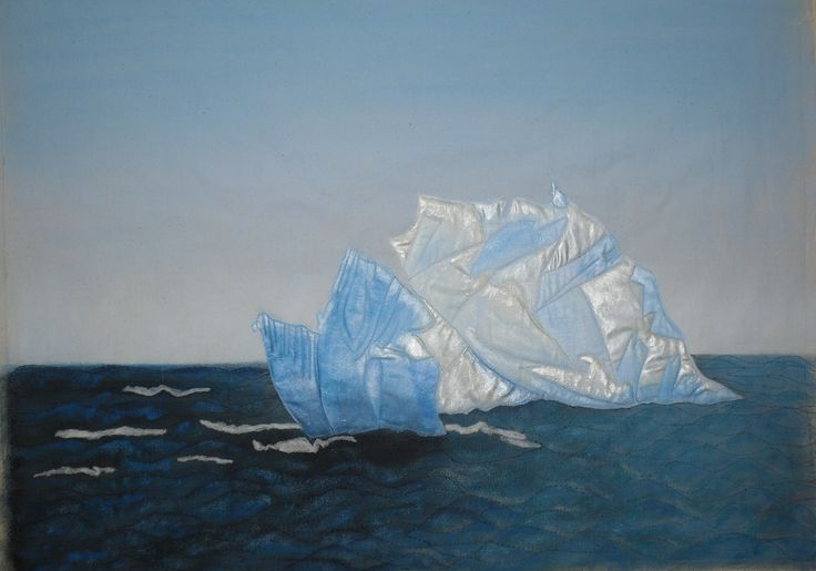 Representation of an Iceberg off the Coast of Newfoundland - Painted on Fabric and mounted on an Artist Canvas