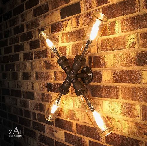lighting out of beer bottles and galvanized pipe for a classy, industrial look