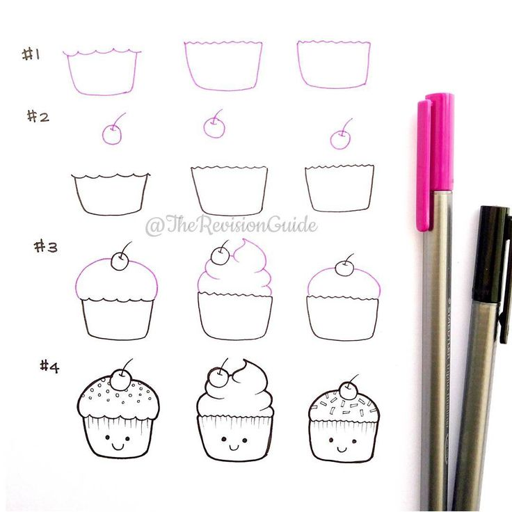 how to draw a cupcake for beginners