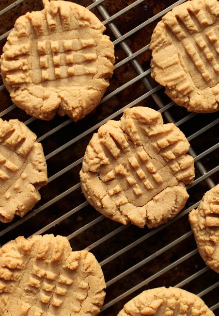 ONLY >>> 4-ingredient peanut butter cookies !!! 1 cup peanut butter, 1 cup sugar, 1 egg, and I teaspoon vanilla. 350 degrees at 10 min.