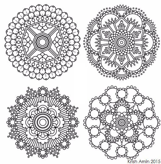 8 Mini Intricate Mandala Coloring Pages Adult by KrishTheBrand
