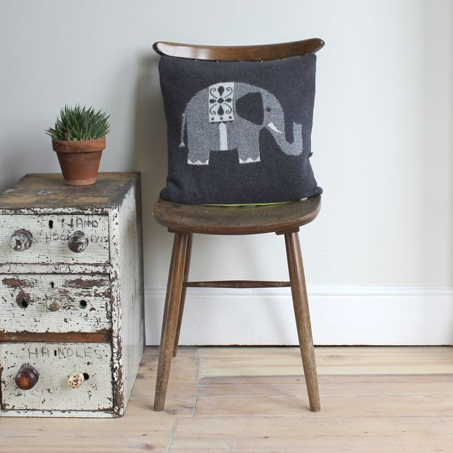 Knitted Lambswool Elephant Cushion