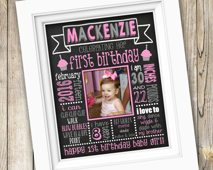 25 best baby girl boy birth stats announcements nursery wall printable pink and gray birthday chalkboard poster babys first birthday poster first birthday girl negle Images