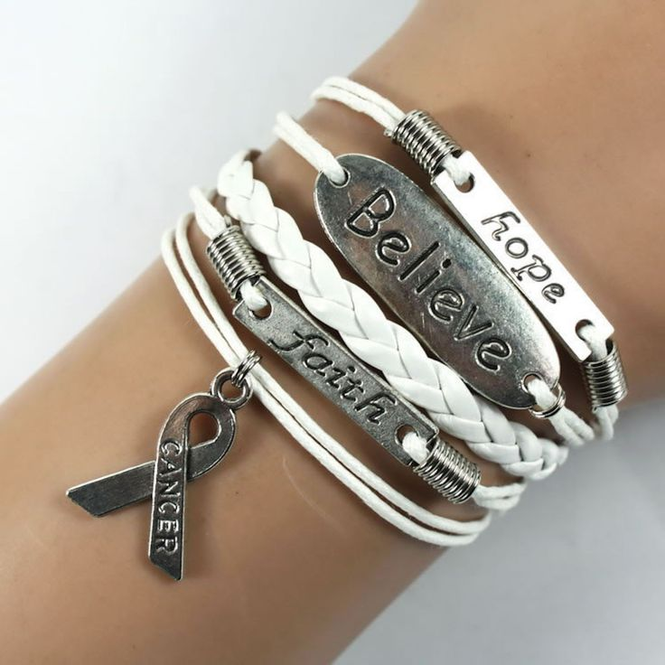 Hope-Believe-Faith Lung Cancer Awareness Sign Braided Leather Bracelet White You will get the same bracelet as the pictures, and the charms are antique silver, this is a very good choice to give as a