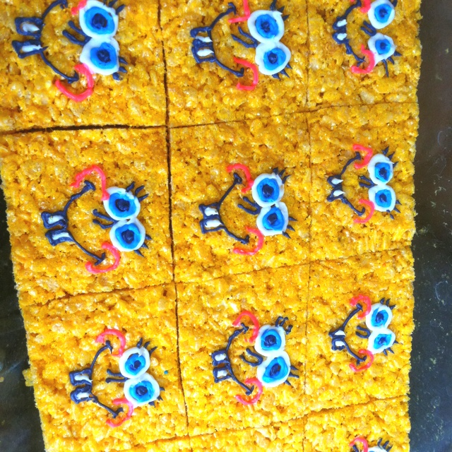 Easy SpongeBob Rice Krispies!  I used yellow food coloring in the marshmallow to make it yellow!  You have to make it pretty dark because it comes out looking lighter once you add the Rice Krispies!  Then I used royal or decorators icing to make the faces!  You need black, white, pink and blue for his face. The icing hardens so you don't have to worry about them getting messed up!  This type of icing is more stiff, so icing bags and tips make it easier, but heavy duty Ziploc bags with the…