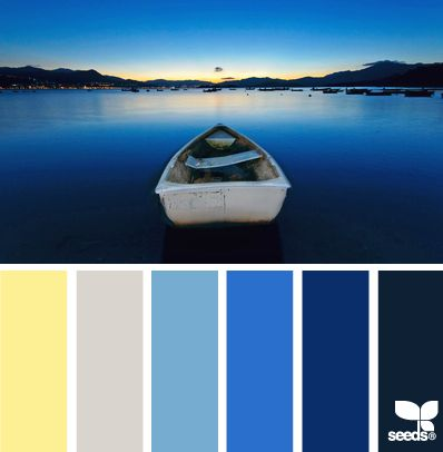 These moody blues with a touch of yellow would make a nice palette for a bedroom, family or living room.