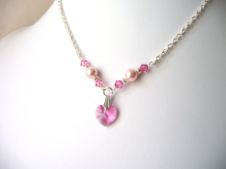 Flower Girl Jewelry, Pink Crystal Heart Jewelry Necklace, Kids Jewelry, Childrens Jewelry, First Communion, Bat Mitzvah, Graduation Gift. $18.00, via Etsy.