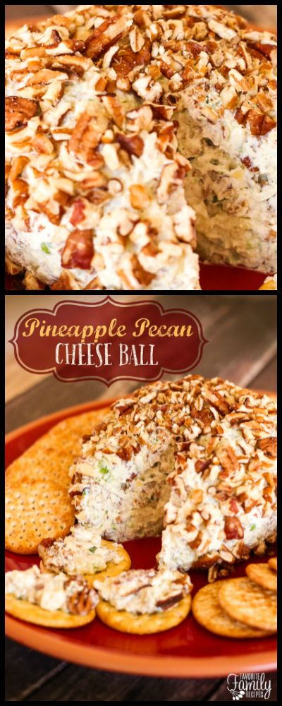 This Pineapple Pecan Cheese Ball is an easy appetizer any time of year. The pineapple, pecans, and seasonings in the cream cheese are delicious on crackers! via @favfamilyrecipz