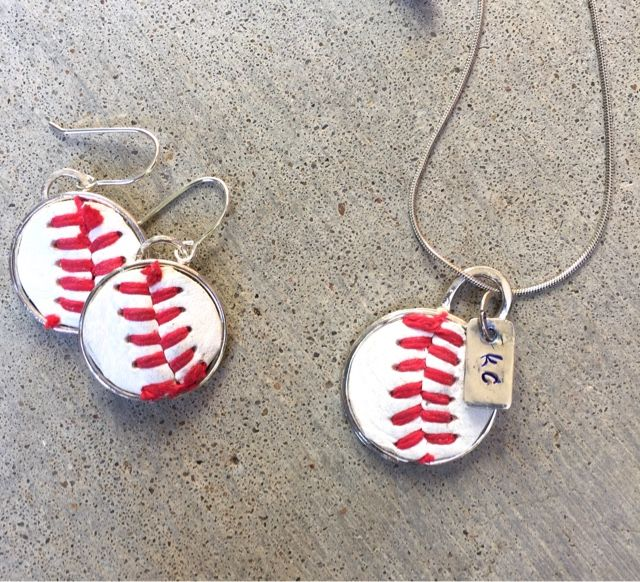 Making baseball jewelry out of an old baseball.   Cake and Jewelry: It was really just a matter of time