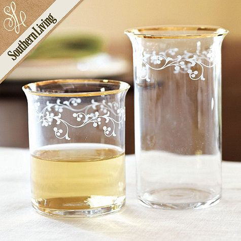 The distinctive golden lip design was inspired by a favorite set of vintage glassware from Southern Living's own collection.Design Inspiration, Gold Trim, Southern Living, Flower Design, Glasses Double, Vintage Glassware, Living Sets, Trim Glasses, Trim Glassware