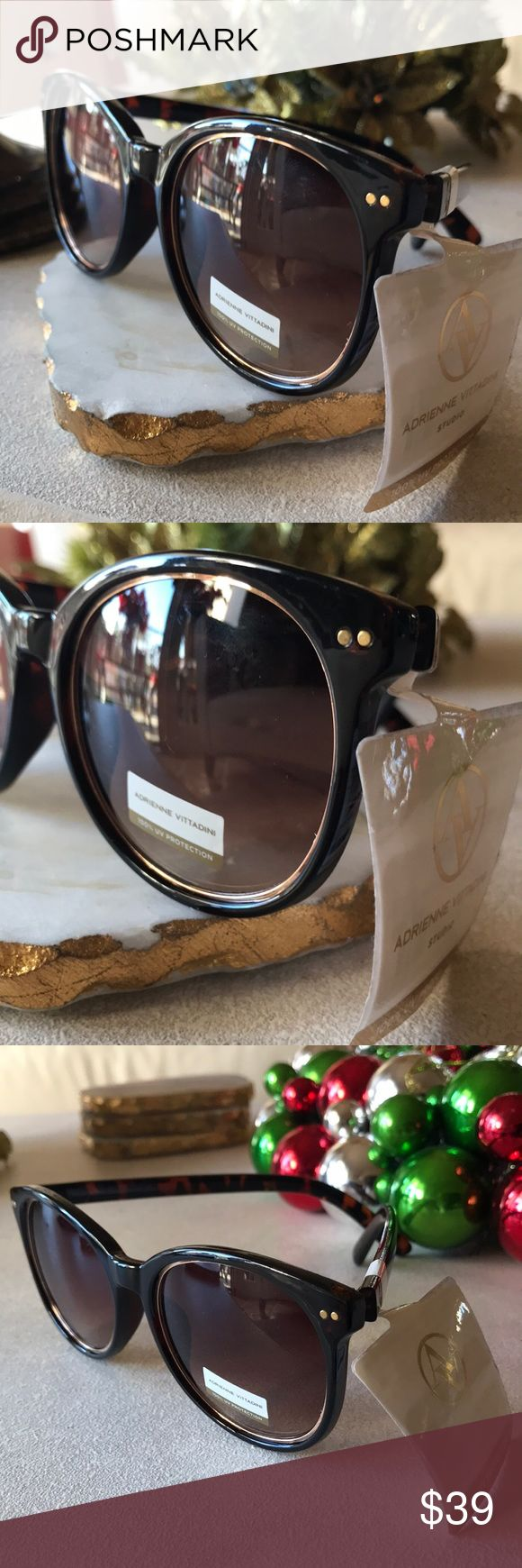 Sunglasses -Adrienne Vittadini 100% UV Protection Classy Horn Rimmed Sunglasses by Adrienne Vittadini. These are 100% UV Protection shades with a very elegant gold rimmed inlay around the rim. SIMPLY BEAUTIFUL NWT Adrienne Vittadini Accessories Sunglasses