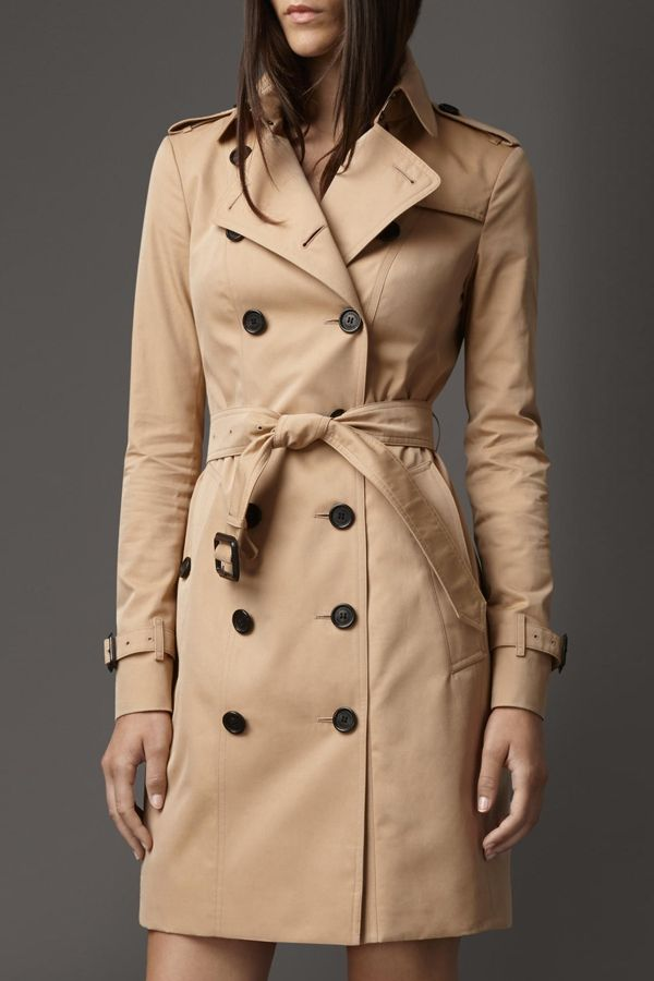 Double-Breasted, Belted Trench Coat / fall style.