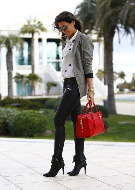 @roressclothes closet ideas #women fashion Grey Blazer Outfit Idea for Fall
