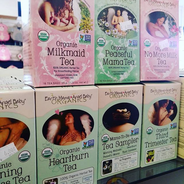 @babymamabkshop on Instagram - Wall o' tea! Have you tried @earthmamaangelbaby tea yet? Delicious and certified organic, kosher, and non-gmo, these are made with quality, natural ingredients, and there's one for each thing that ails ya! Earth Mama is a company respecting natural ingredients, sustainable sources, and a healthy mama! Makes a great add on gift for any mama in your life, too.