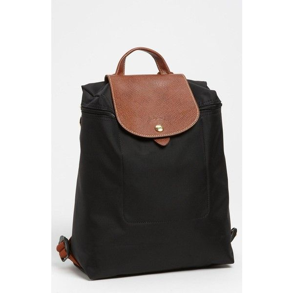 Women's Longchamp 'Le Pliage' Backpack ($125) ❤ liked on Polyvore featuring bags, backpacks, backpack, accessories, black, strap backpack, backpack bags, water resistant bag, flap bag and rucksack bags