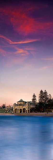 A Colorful summer sunset over the Cottesloe Beach in Western Australia. The Indiana Tea House is an iconic building and so beautiful