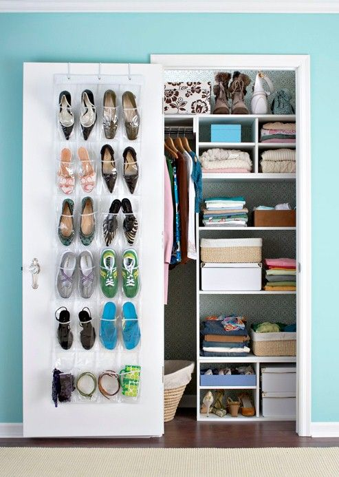 •Closets deserve pretty decoration. Wallpaper the back wall for added beauty.  •Devote a few pockets of a shoe rack to small accessories.  •Stash sweaters away for the summer in large cardboard boxes.  •Install a coat-hook rack behind hanging clothes as a belt and scarf hanger.The Doors, Closets Ideas, Closet Organization, Shoes Organic, Organic Closets, Small Closets Organic, Shoes Racks, Closets Spaces, Storage