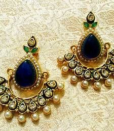 Buy Stunning Bollywood Style Blue Stone Pearl Earrings danglers-drop online
