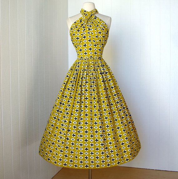 vintage 1950's dress ...fabulous designer CAROLYN SCHNURER novelty print cotton convertible halter full skirt pin-up party dress