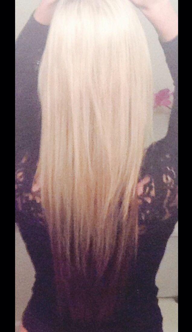 Blond on top with dark underneath.