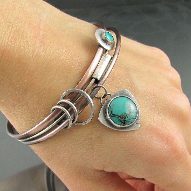 turquoise mixed metal bangles | by NRjewellerydesign