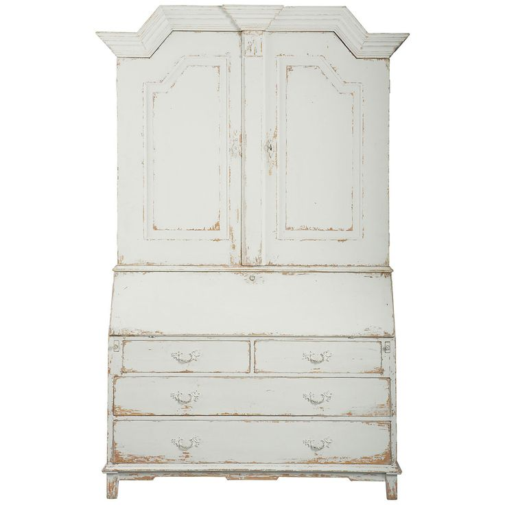 Replica of a rare antique gustavian sectretary in aged pine with an antique grey milk paint finish and forged hardware. Features: - Grey milk finishDesksCabine - 2 doors Measurements: - Dimensions: 59