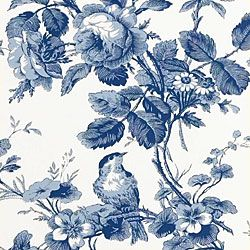 Thibaut - T9785 Pattern ISABELLE Wallpaper Collection Toile Resource 2 Colorway Blue on White