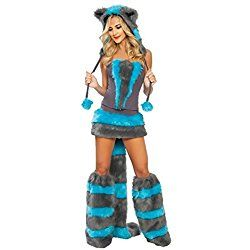 Sexy Cat Costume - Halloween Furry Cheshire Cat Corset Costume with Tail and Hood