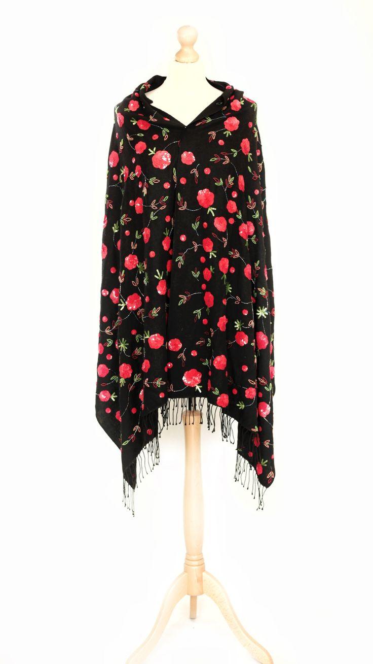 Vintage black shawl/cape with red rose sequin details