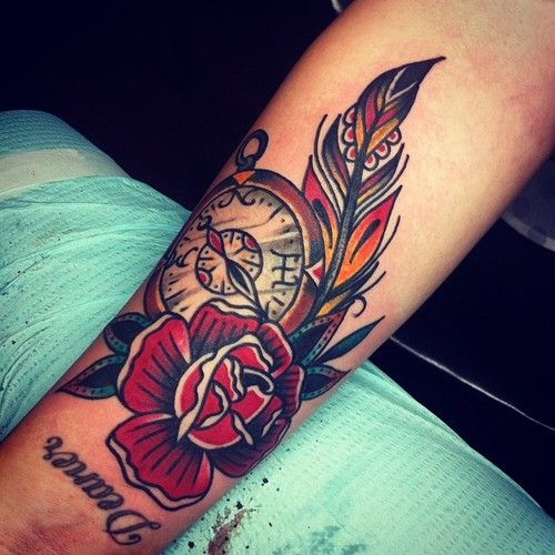 rose feather tattoo - Google Search