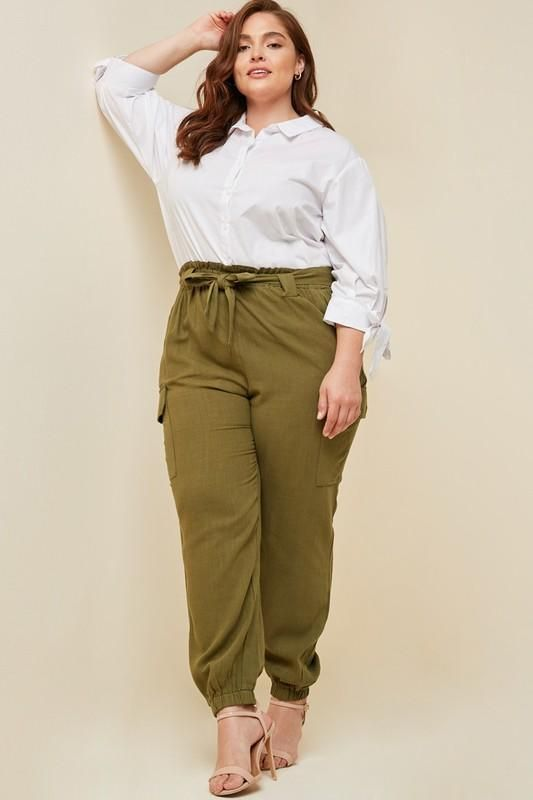 2c015a426486 Olive Plus Size Linen Paper-bag Tapered Trousers in 2019 | Women ...