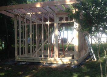 12x14 modern shed front framed