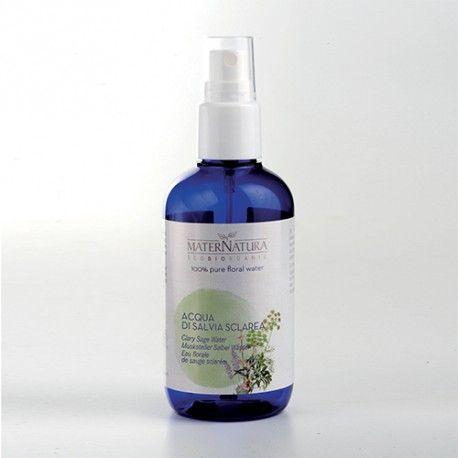 Agua Floral Salvia - MaterNatura. Este Agua Floral calma la piel irritada y reduce la inflamación. También tonifica y alivia la piel seca y agrietada. Ayuda a regenerar el cabello seco y quebradizo.
