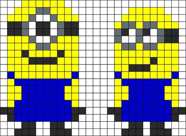 Despicable Me Minoins - Cool Perler Bead Patterns, http://hative.com/cool-perler-bead-patterns/,