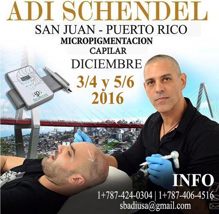 Ingresos importantes para Clínicas de Belleza y Estética, estilistas y barberos, cosmetólogos, artistas del tatuaje, Spa… Adi Schendel, el guru de la micropigmentación del cuero cabelludo, estará en Puerto Rico únicamente del 3 al 6 de diciembre próximo. Para más informacion llama ahora al Whatsapp: 1+ (787) 424-0304 | 1+ (787) 406-4516 Email: sbadiusa@gmail.com    Es un placer servirte!