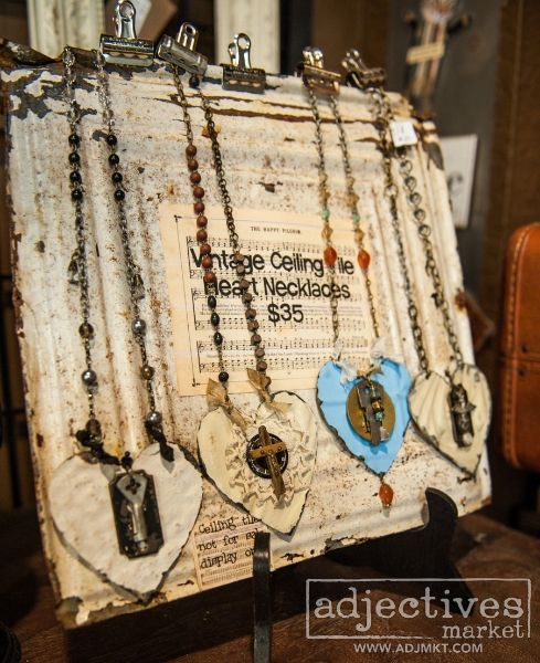 Adjectives Market | Friday Shop Shots - Necklaces Cut From Vintage Ceiling Tile By The Old Crow