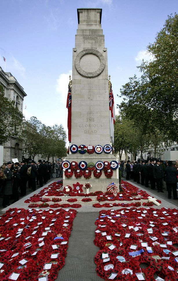 Wreaths of poppies lie at the Cenotaph at Remembrance Sunday Service in Whitehall, London. Today at 11am two minutes silence will be observed in remembrance of all those who perished in all wars. We will remember them