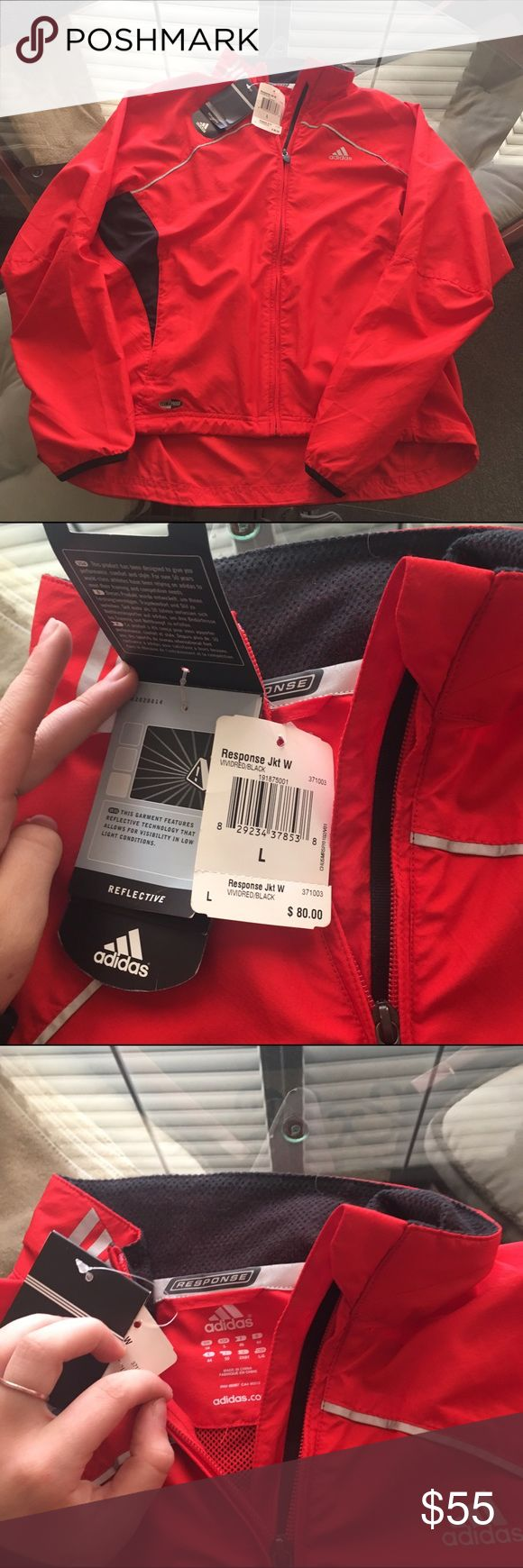 W/ TAGS Reflective Red Windbreaker Adidas Climate Brand new. Bought this for 80$ is reflective in some parts of the jacket. I'm a medium and it fits baggy Adidas Jackets & Coats