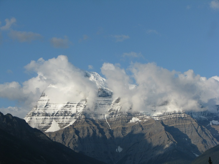 Mount Robson... it makes it's own weather, so it's almost always covered in clouds!