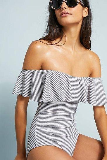 8965c7cf4de1e Eberjey Margarita Off-The-Shoulder One-Piece Swimsuit #ShopStyle ...