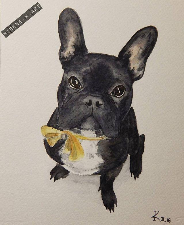 @irenesillustration бульдог французский акварель иллюстрация frechie french bulldog watercolors illustration