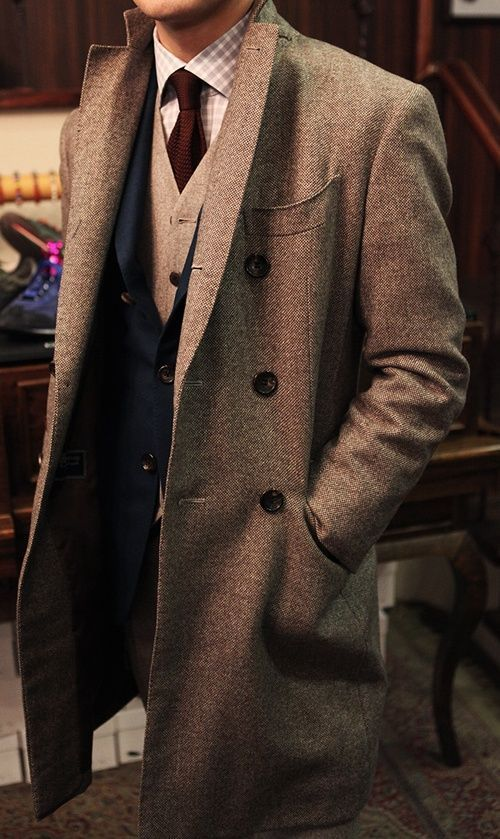 Tweed long coat. Love the layers and cut