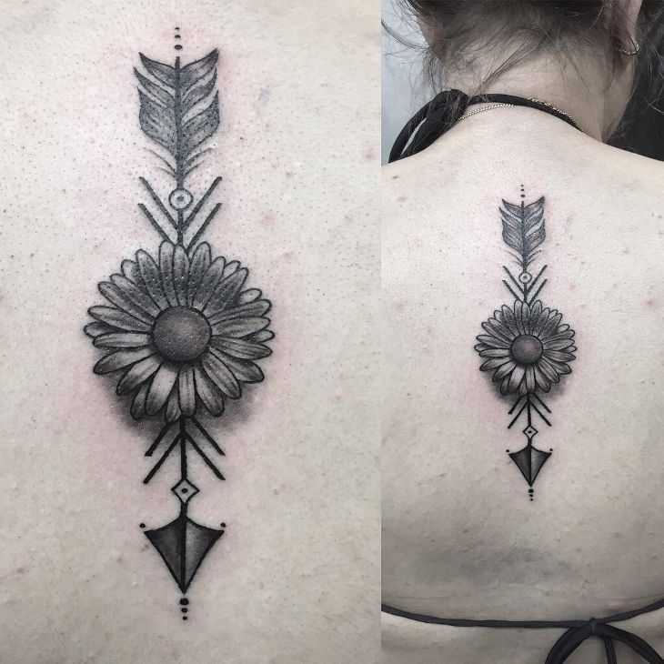 Simple Daisy and Arrow Tattoo                                                                                                                                                                                 More