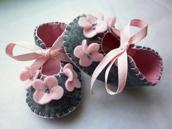 Grey and powder pink handmade crib shoes by FiestaKidsBoutique, $24.50
