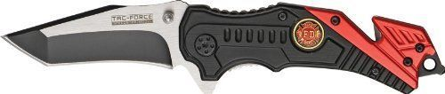 TAC-FORCE Spring Assisted Opening Knives Red Fire Fighter Tactical Rescue Knife in Factory Manufactured   eBay