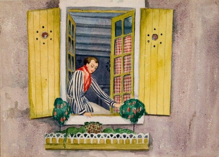 "Einar Wegener.  (""Woman in a Window"")  The twin of one of Gerda's paintings from Beaugency"