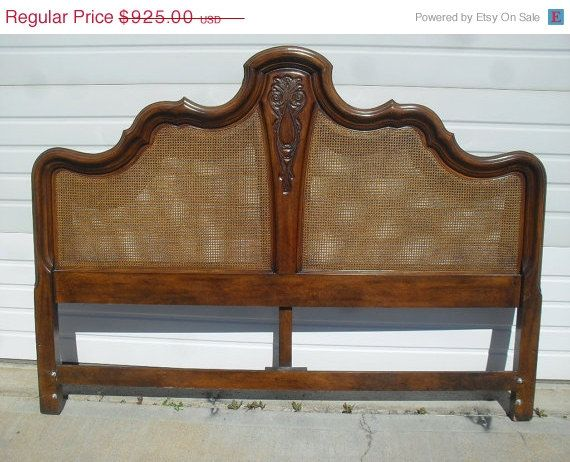 clearance sale vintage king size bed headboard w cane panels hollywood regency